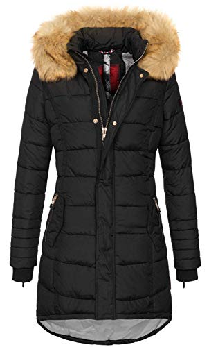 Navahoo Papaya Damen Winter Jacke Steppjacke Mantel Parka gesteppt warm B374 (XXL, Schwarz)