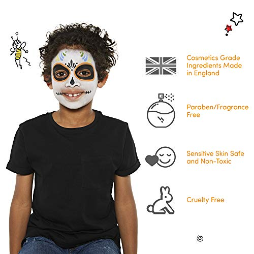 Snazaroo Classic Face and Body Paint, White, 18 ml, Professional Water Based, Single Cake Makeup Supplies for Adults, Kids and Special FX