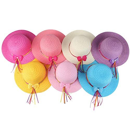 Girls Bow Straw Tea Party Hat Set (7 Pcs, Assorted Colors)