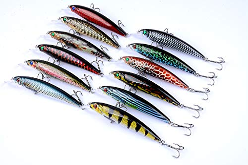 DORISEA Fishing Lures Hard Bait Minnow VIB Lure with Treble Hook Life-like Swimbait Fishing Bait 3D Fishing Eyes Popper Crankbait Vibe Sinking Lure for Bass Trout Walleye Redfish … (LB106)