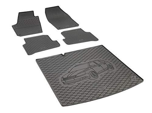 Passgenaue Kofferraumwanne und Gummifußmatten geeignet für Skoda Fabia III Kombi ab 2013 + Autoschoner MONTEUR