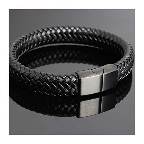 YNX MLKCL - Pulsera para hombre, color negro con cadena de cuerda (longitud: 18,5 cm, color de la piedra principal: oro)