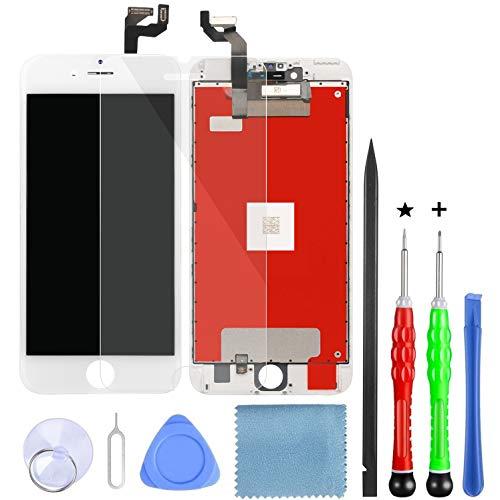 Lansupp Display per iPhone 6s Plus Bianco, 5,5 '' Schermo Retina LCD Touch Screen Digitizer Parti di Ricambio con Strumenti di Riparazione e Pellicola in Vetro Temperato