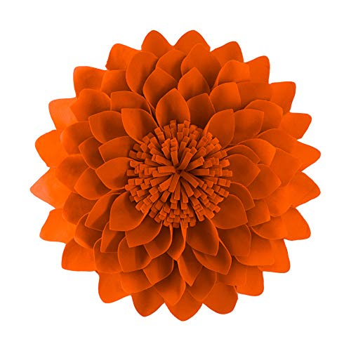 JWH 3D Flower Accent Pillow Handmade Cushion Decorative Pillowcase with Pillow Insert Cotton Sham Wool Flower Home Bed Living Room Decor Girl Gift 12 Inch Orange Red