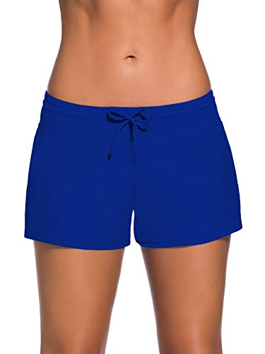 WILLBOND Women Swimsuit Shorts Tankini Swim Briefs Plus Size Bottom Boardshort Summer Swimwear Beach Trunks for Girls (Royal Blue, M)