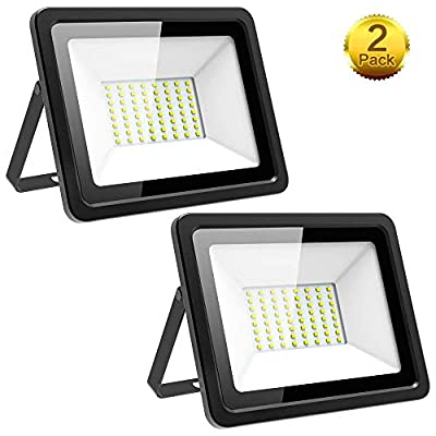 Outdoor Flood Light, MORSEN 2 Pack 60W 6000LM 6000K LED Flood Lights with IP66 Waterproof, Daylight White Lights for Garage, Garden, Lawn,Playground (Renewed)
