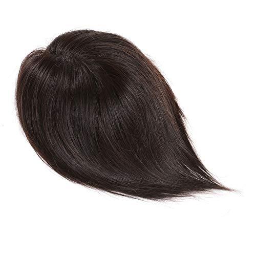 Souple Pince naturelle invisible de Fashian dans les perruques de cheveux raides avec des perruques de cheveux blancs fashion (Color : [9x14]35cm natural black)