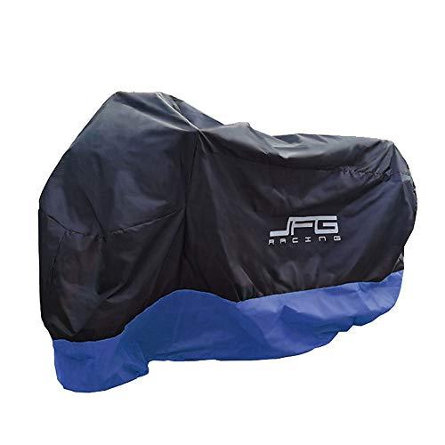 JFG RACING - Coprimoto impermeabile per esterni, in tessuto Oxford resistente, taglia L, colore: Nero blu-M