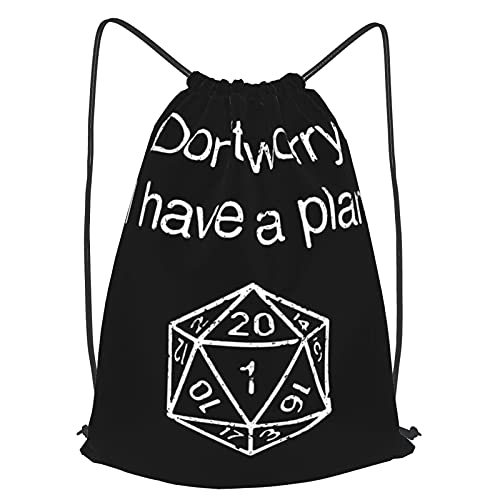 Don'T Worry I Have A Plan Dungeon Master Gym Mochila con cordón para niñas, niños, mujeres, deporte, cincha, yoga, viajes, camping