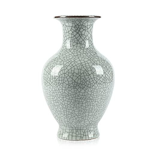 Arte chino de cerámica hecho a mano antiguo hielo grieta esmalte jarrones grande China porcelana flor botella florero (blanco)
