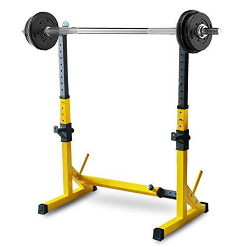 DFANCE Verstellbare Squat-Rack-StäNder BankdrüCken-Rack-Squat-StäNder Hochleistungs-Rack-Gewichtsregal mit Stabilem Stahlrahmen und GummifüßEn, Kraftmuskeltraining, Gelb