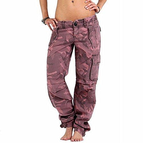 Guess Jeans Damen Hose Pink Camouflage Outdoor/Freizeit Vintage Denim Cargo-Pants, lässige Loose-Fit Passform (Boyfriend/Boyfit), Gr.W27