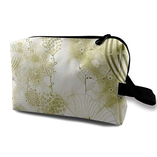 1940s Retro Art Deco Large Scale Floral Watercolor Toiletry Bag Cosmetic Bag Portable Makeup Pouch Travel Hanging Organizer Bag for Women Girl 10x5x6.2 inch