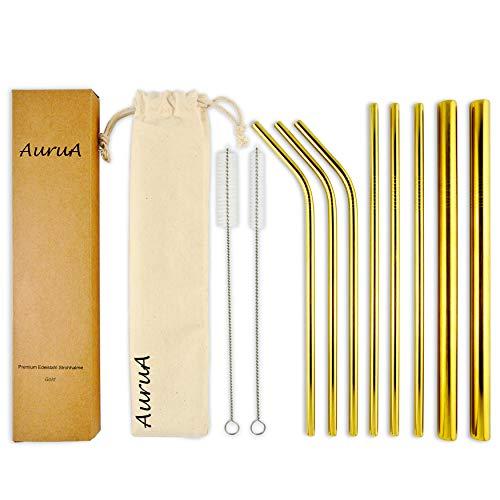 AuruA® Cannucce in acciaio inox | Set di cannucce in metallo dorate riutilizzabili extra large | per cocktail, frullati e frappè | Ecologiche e lavabili in lavastoviglie