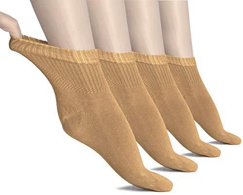 Hugh Ugoli Women's Loose Diabetic Ankle Socks, Bamboo, Wide, Thin, Seamless Toe and Non-Binding Top, 4 Pairs, Hazel, Shoe Size: 6-9