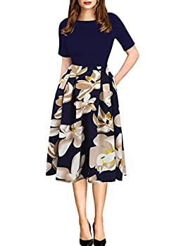 oxiuly Women s Vintage Patchwork Pockets Puffy Swing Casual Party Dress OX165  Blue + White x_l