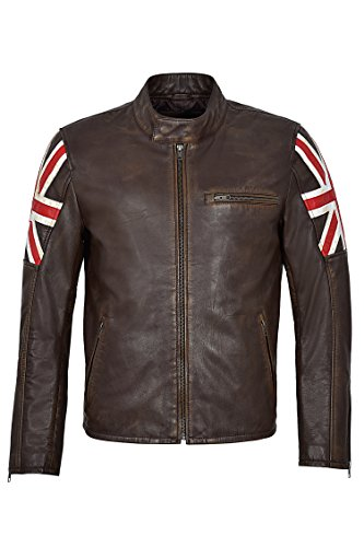 Smart Range Chaqueta de Cuero 2525 Cafe Racer Vintage Brown Distressed Union Jack Biker (XL)