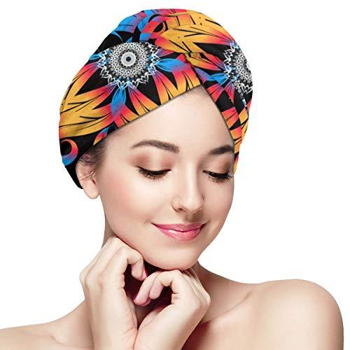 Haar-Trocken-Kappe, bunt, schönes Blumenmuster, nahtlos, super saugfähig, Twist Turban, schnell trocknende Haarkappen...