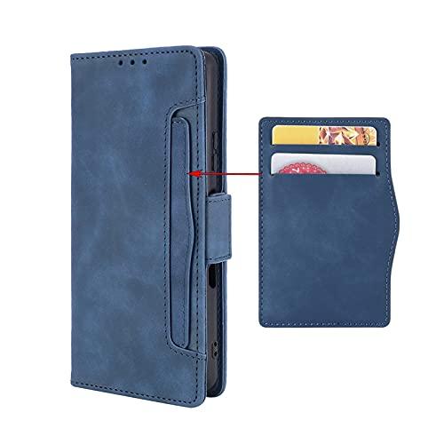 GOKEN Leder Folio Hülle für Oppo A74 5G / Oppo A54 5G, Flip TPU Liner PU Lederhülle Brieftasche Mit Kartensteckplätzen, Handyhülle Schutzhülle Hülle Cover mit Ständer Funktion (Blau)