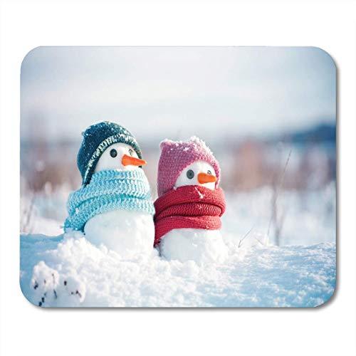 Muismat met twee kleine sneeuwpannen, meisjes en jongens, gebreide muismat voor laptops, bureau-onderlegger
