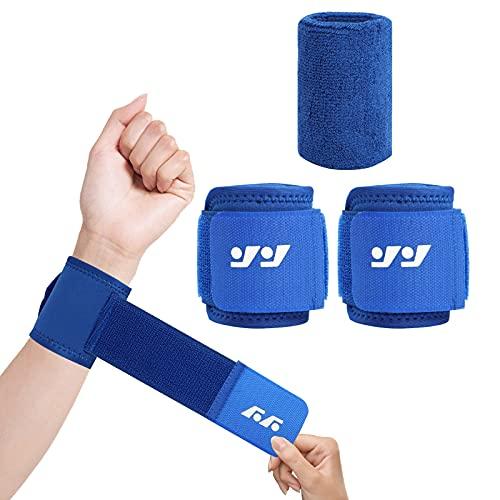 Prochosen Handgelenk Bandagen,3er Pack Bandage Handgelenk mit 2 Stück Verstellbaren Handgelenkschoner und 1 Stück Wristbands für Krafttraining, Bodybuilding, Fitnesstraining(Blau)