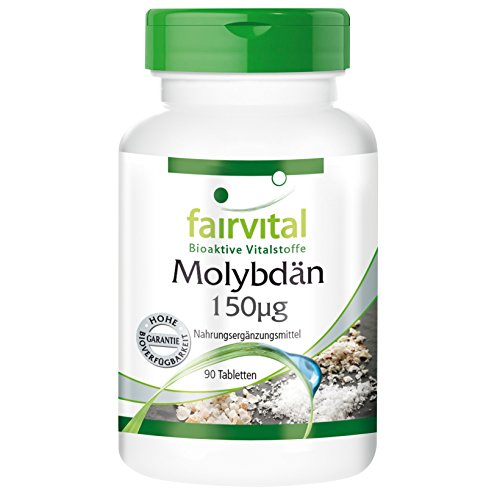 Molibdeno 150µg - Dosis elevada - VEGANO - Oligoelemento esencial - 90 Comprimidos - Calidad Alemana