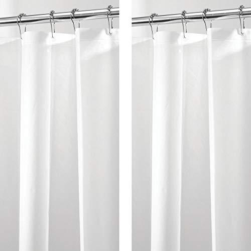 mDesign 2er-Set PVC-freier Duschvorhang aus PEVA – geruchloser, wasserfester Duschvorhang mit Magnetenim Saum – perfekt als Badewannenvorhang 183 cm x 183 cm – weiß