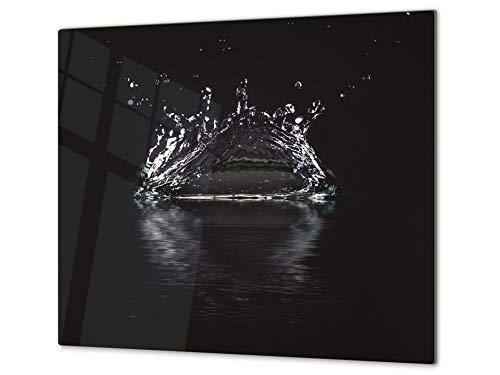 Cubre vitro de cristal templado – Protector de encimera de vidrio templado – Resistente a golpes y arañazos – UNA PIEZA (60 x 52 cm) o DOS PIEZAS (30 x 52 cm); D02 Serie Agua: Agua 2