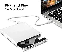 External blu-ray DVD Drive USB 2.0 Portable BD CD Player BD-ROM DVD/CD-RW/ROM Burner for PC Computer (White)