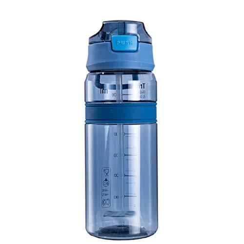LMG Botella Botellas de Agua 700ml con la manija y StrawDrinks de Botella sin BPA Sport, for Running Gimnasio al Aire Libre y el día a día de Uso (Color : Blue, tamaño : Clear)