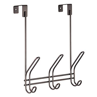 InterDesign Classico Over Door Storage Rack - Organizer Hooks for Coats, Hats, Robes, Clothes or Towels - 3 Dual Hooks, Bronze