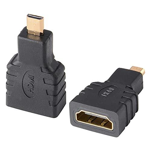 J&D 2-Pack Micro HDMI a HDMI Adattatore, Placcato Oro HDMI Femmina a Micro HDMI Maschio Convertitore Adattatore Compatibile con Smartphone Telecamera