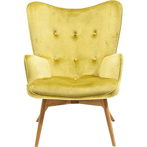 KARE Design Sessel Vicky 82686 mit Armlehnen, Ohrensessel mit Samt Bezug, Polstersessel in Grün, Pflegeleichte Oberfläche, Füße aus massiver Buche lackiert, 59x63x92cm