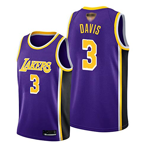SHR-GCHAO Jersey De Baloncesto para Hombre, NBA Los Angeles Lakers # 3 Anthony Davis Jersey # Ocio Transpirable Sin Mangas Secado Rápido Camiseta De Malla,Púrpura,L(175~180cm)