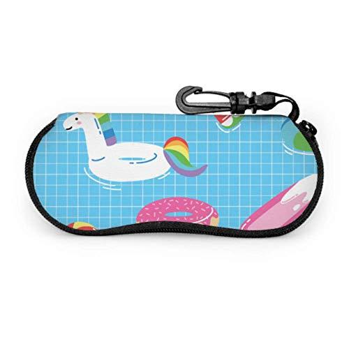 Bright Unicorn Or Flamingo Floats In Pool Sunglasses Pouch For Women Childrens Sunglasses Case Light Portable Neoprene Zipper Soft Case Best Glasses Case