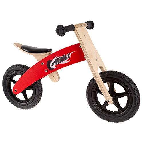 Lil' Rider Wooden Balance Bike Ride On with Easy Grip Handles, Rubber Wheels and No Pedals to Learn Balance and Coordination- For Boys and Girls.