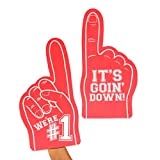 Okuna Outpost Foam Finger for Sporting Events, We're 1, It's Going Down (Red, 2 Pack)