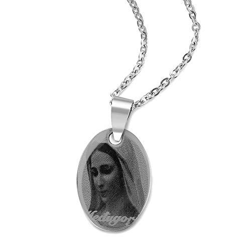 DADATU Moda Guadalupe Virgen María Colgante De Acero Inoxidable Medalla Cadena Católica Collar & Colgante para Mujeres Hombres Joyería