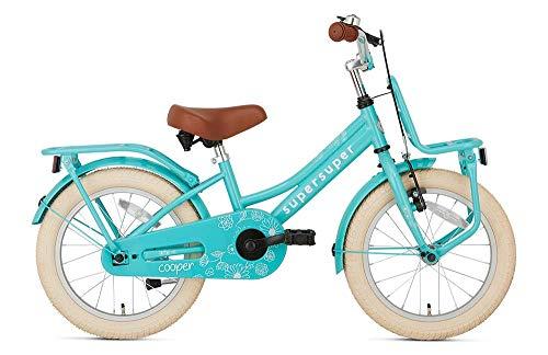 POPAL SuperSuper Cooper Kinder Fahrrad für Kinder | Mädchen Fahrrad 16 Zoll ab 4-6 Jahre| Kinderrad met Stützrädern | Turquoise
