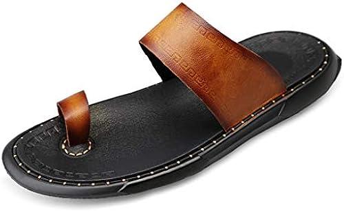TYX-SS Sommermode Leder tragen EIN Wort Drag Herren Outdoor Casual Sandalen Herren Sandalen