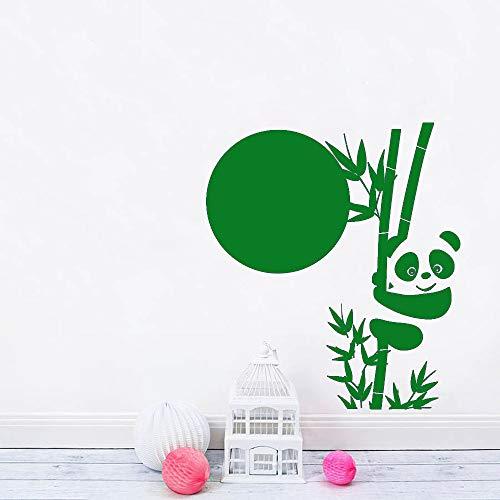 zhuziji Gran Panda Bamboo Vinyl Wall Sticker para Habitaciones de niños Cute Animal Asian Stickers Unique Nursery Decor Wall Decal Mural Ar 888-5 56cmx63cm