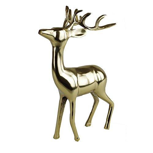 Lesli Living Hirsch Figur stehend Größe wählbar Gold Aluminium poliert Dekohirsch Dekofigur, Größe:M