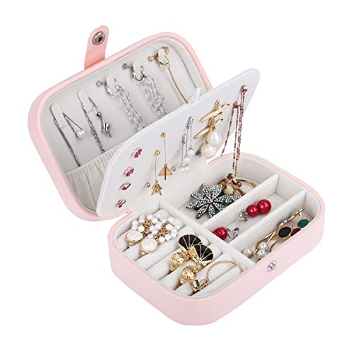 Jewellery Box,BS PU Leather Small Travel Jewellery Box Case for Women and Girls' Rings Earrings Necklace Jewelry Storage Boxes Organizer Small Size Pink