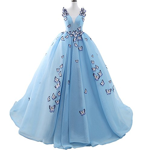 Fair Lady Blue Butterfly Princess Prom Dresses 2020 Ball Gowns Evening Dress Long Quinceanera Party Gowns