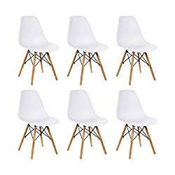Scandinavian Design Set of 6 Dining Chairs Natural Wood For Kitchen, Office, Lounge, Dining Room Colour: White