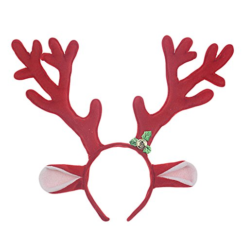 Vococal Bandeau Cheveux de Noël, Bandeau Femmes Mignonnes de Noël Santa Rennes bois Bandeau Bande Cheveux pour la Mascarade(Rouge)