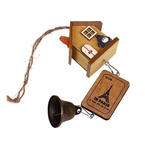 LKXHarleya Décor de jardin à la maison Pendaison de cloche de carillon de vent Cloche de maison en bois Chaîne de cloche en laiton
