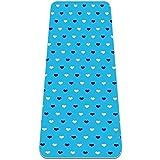 Esterilla Yoga Mat Antideslizante Profesional - corazón patern azul - Colchoneta Gruesa para Deportes - Gimnasia Pilates Fitness - Ecológica