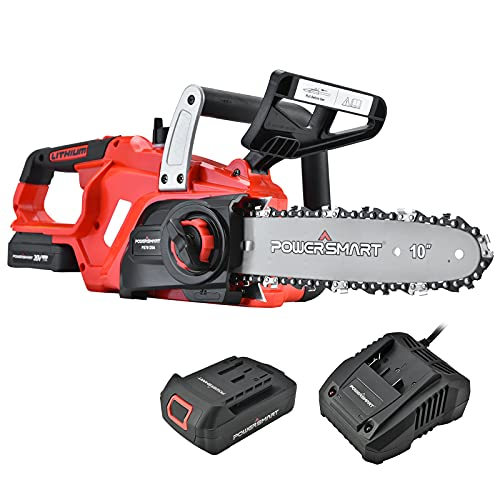 PowerSmart Electric Chainsaw 20V Battery Powered,Cordless Chain Saw With 10 Inch Chain and Bar,1.5Ah Battery And Fast Charger Included,Power Chainsaw For Trees Wood Farm Garden Ranch Forest Cutting