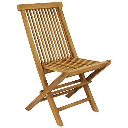 Sunnydaze Hyannis Solid Teak Outdoor Folding Dining Chair - Light Wood Stain Finish - Patio, Deck, Lawn, Garden, Terrace or Backyard Spare Seat - 1 Chair